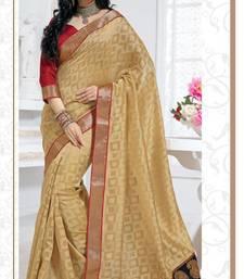 Buy Party Wear  Beige Banarsi Silk Jacquard Saree with Blouse banarasi-saree online