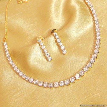 Single Line Diamond Elegant Necklace Set