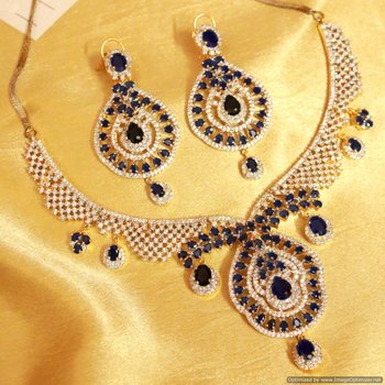 Blue Sapphire Diamond Look Necklace Set