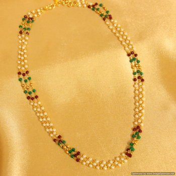 Multicolour Polki 3 Line Necklace