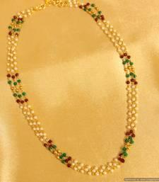 Buy Multicolour Polki 3 Line Necklace Necklace online