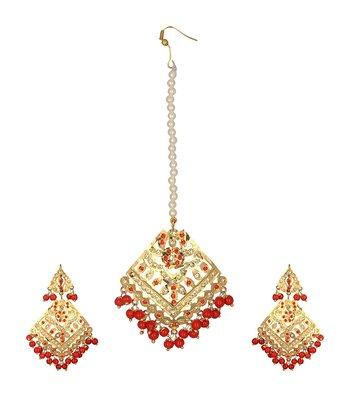 Jadau Dangler Gold plated Red  beads Earrings pair and maang tikka set