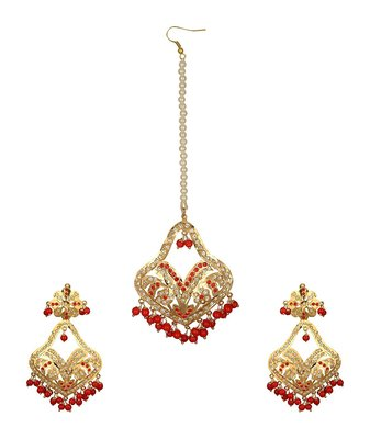 Jadau Dangler Gold plated Red  beads Earrings pair and maang tikka set