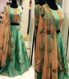 Buy Turquoise embroidered cotton unstitched lehenga cotton-lehenga online