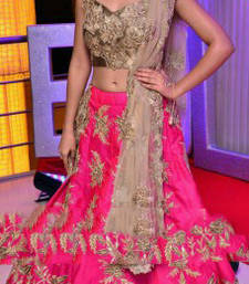 Buy Pink embroidered cotton unstitched lehenga bollywood-lehenga online