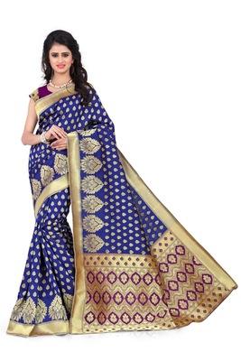 blue hand_woven banarasi saree with blouse