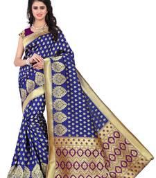 Buy blue hand_woven banarasi saree with blouse banarasi-saree online