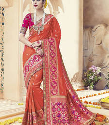 Buy Rust embroidered kanchipuram silk saree with blouse kanchipuram-silk-saree online