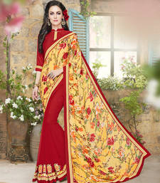 Buy yellow and red embroidered jacquard and georgette saree with blouse ethnic-saree online