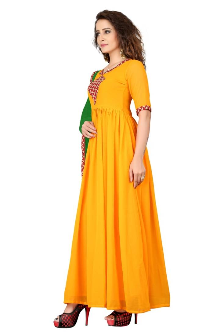 Buy yellow embroidered georgette unstitched dress material