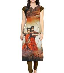 Buy Bahubali brown printed crepe long-kurtis long-kurti online