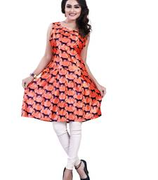 Buy Orange printed crepe short-kurtis short-kurti online