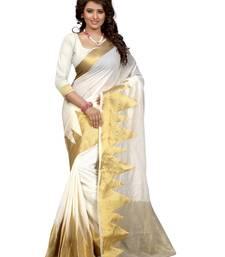 Buy White woven poly cotton saree with blouse cotton-saree online