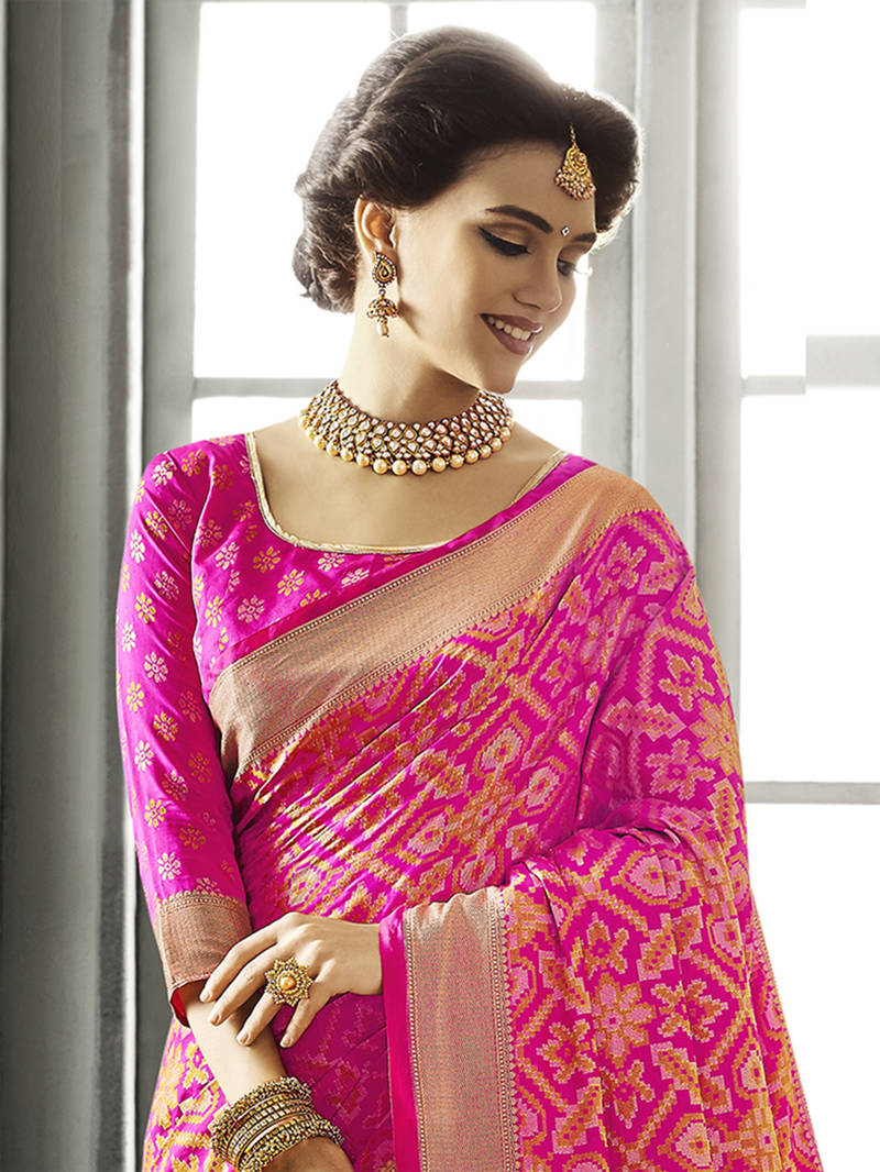 Buy Pink Woven Patola Saree With Blouse Online
