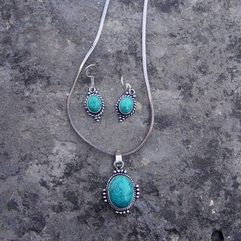 turquoise pendent with earring-2