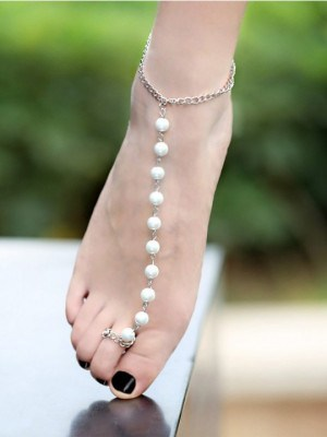 Silver chain and pearls ankle bracelet