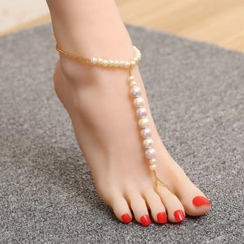 Pearls embellished ankle bracelet