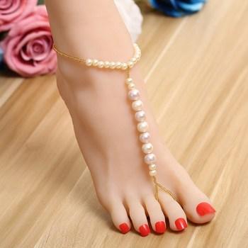 Pearl studded ankle bracelet