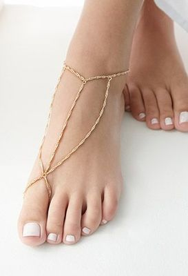 Gold chains triangle ankle bracelet
