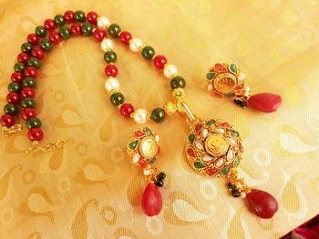 Beautiful Multicolor Beaded Temple Jewellery
