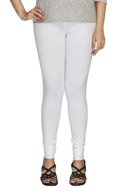 White Plain Cotton free size leggings