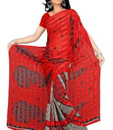 Buy Full coloured Printed satin patti saree printed-saree online