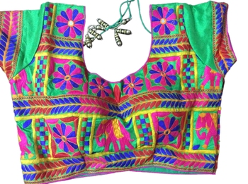 green art_silk Kutchwork stitched blouse