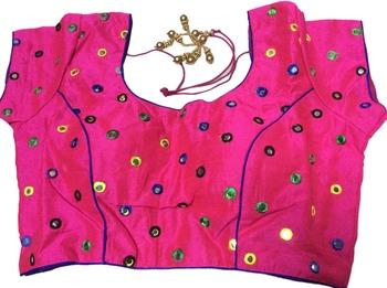 pink art_silk glasswork stitched blouse