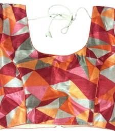 Orange art_silk Abstract Print stitched blouse