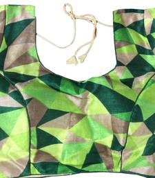 green art_silk Abstract Print stitched blouse