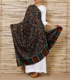 Buy Bluish Black kani pashmina blend Shawl wedding-season-sale online