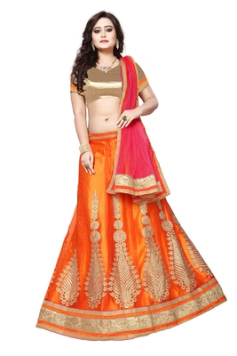Orange Embroidered Net Unstitched Lehenga With Dupatta
