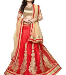 Red embroidered net unstitched lehenga with dupatta