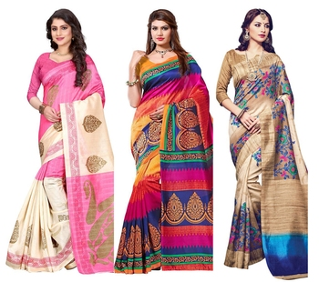 Multicolor printed bhagalpuri cotton saree with blouse Pack Of- 3