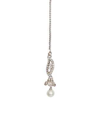 Silver pearl maang-tikka