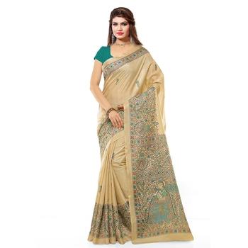 beige printed bhagalpuri saree with blouse