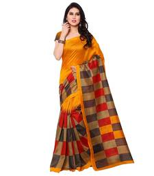 Buy yellow printed cotton saree with blouse Woman online