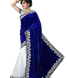 Buy blue embroidered velvet saree with blouse women-ethnic-wear online