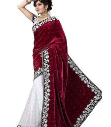 Buy maroon embroidered velvet saree with blouse women-ethnic-wear online