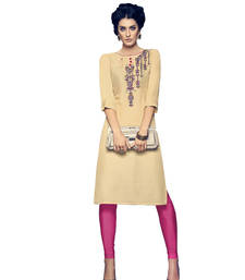 Buy Cream embroidered cotton cotton-kurtis cotton-kurti online