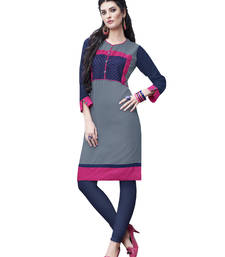 Grey plain rayon long-kurtis shop online