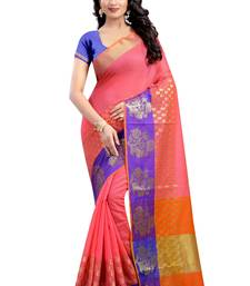 Buy Pink plain cotton saree with blouse black-friday-deal-sale online