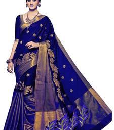 Buy Blue plain cotton saree with blouse women-ethnic-wear online