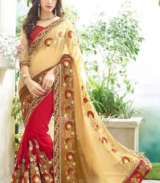 Beige embroidered georgette saree with blouse shop online
