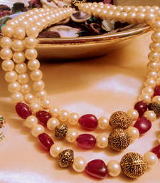 Buy 3 line royal ruby necklace Necklace online