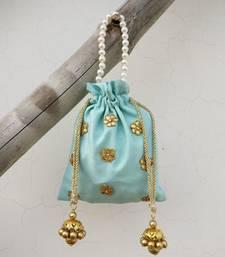 Blue Raw Silk Potli Bag With Gota Patti flowers