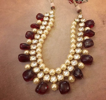 Kundan Royal necklace with Red Semi Precious onyx and Shell Pearls