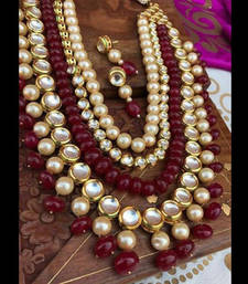 Buy Kundan gold pLated Necklace Set with Red Onyx Stones and Pearls necklace-set online