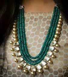 Buy Kundan and Green Onyx Semi Precious Necklace Necklace online