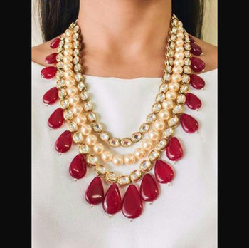 Kundan And Pearls Multistrand Necklace With Red Onyx Stone Droplets